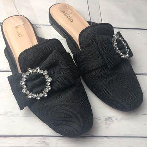 Aldo   black brocade slipper mule